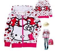 Free Shipping Hot 6pcs/lot Kids boys girls hello kitty hoodies/coat, baby kids girls hello kitty Sweatshirts/hoody/outerwear