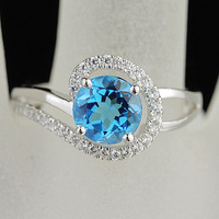 Female accessories natural blue topaz stone ring 925 pure silver jade