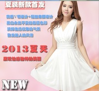 2013 summer elegant chiffon slim sexy slim waist sleeveless vest basic one-piece dress