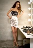 2014  NEW Fashion Sexy Lace Rivet Graceful Women Lady Strapless evening Dress