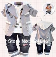 2013 baby boys clothing set children's 3pcs cset coat+ t shirt+pants in stock