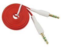 Noodle AUX Stereo Red Audio Cable 3.5mm Male to Male For iPhone Samsung mobile phone