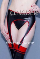 Latex black garters with red edge for girl