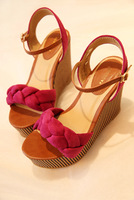 New arrival 2013 vivi women's shoes twisted knitted stripe platform wedges sandals