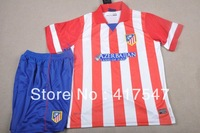 New Season! 13/14 Atletico Madrid Home Red/White Soccer Jersey & Short Kit Uniforms with Embroidered Logo