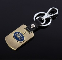 Free shipping 3D car logo keychains brand logo key chains gold alloy and leather key rings car accessories keyrings, D-10