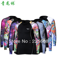 FREE SHIPPING Original Brand TH02 2013 Men's Outdoor Sport Tights Quick-drying Long Lycra / Spandex Dragon Print T-shirt
