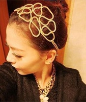 Fashion Wholesale European and American Wedding Hollow Braided Hair With Golden Hair Ornaments Headband