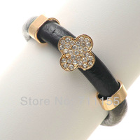 Mini.$10,Fashion Jewelry Europe Genuine Leather Bracelet,14K gold Plated,Can choose 4 colors,AAAAA Crystal Square Style Bracelet