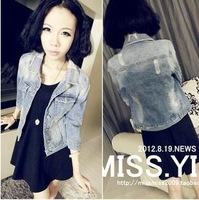 2013 spring autumn NEW brand designer women's vintage denim jacket short fashion coat jean plus size outerwear free shipping 46X
