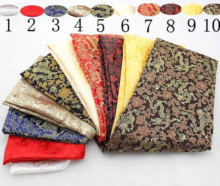 Faux silk satins woven damask silk cheongsam fabric damask fabric dragons and flowers pattern 10 colors consume fabric(China (Mainland))