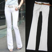 2013 su-board brief slim white elastic tight-fitting package boot cut jeans female