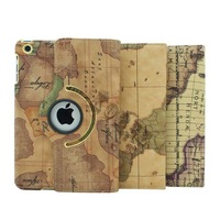 EMS FreeShipping 30Pcs/Lot Classic World Map Pattern 360 Degree Rotating Leather Case PU Stand Leather Case for iPad 2/3/4