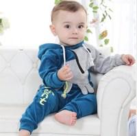 2013 children's clothing autumn child 100% cotton velvet baby long-sleeve set infant clothes