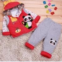 2012 children's clothing autumn baby cotton-padded jacket set cartoon infant autumn and winter wadded jacket set