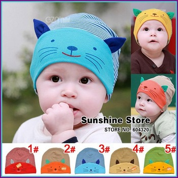 Sunshine store #2C2674  5 pcs/lot(5 colors)baby hat cotton children print smile cat face hats with ear stripe autumn beanie CPAM