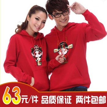 2012 lovers winter sweatshirt women's plus size outerwear lovers thickening outerwear beijing opera mask