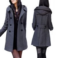 Spring wool coat long slim design with a hood double breasted woolen outerwear  Free shipping