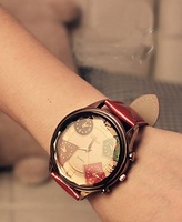 2013 Top Quality Fashion Famous Brand luxury Leather Strap  Women watch for lady big dial face wristwatch table