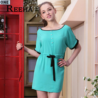 Reeha 2013 summer fashion vintage full dress o-neck loose short-sleeve midguts one-piece dress