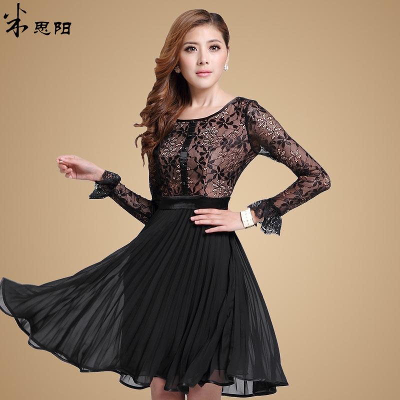 dd1f1a250db Turmec » vintage v-neck long sleeve women s black pleated dress