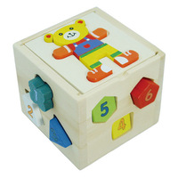 Child day gift wooden shape box building blocks bear digital geometry box free shipping