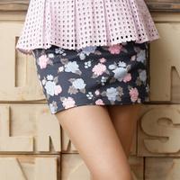 2013 new fashion Autumn  a23908 Vintage small fresh flower Slim hip mini Short Skirt for Lady