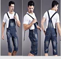 Free shipping new men's denim overalls, men Siamese jeans, men's overalls shorts, denim bib -164