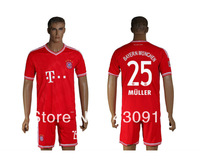 Free shipping 13 14Bayern Munich Red Home Soccer Jersey+Shorts MULLER 25# Football Uniform Trianing Clothing