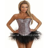 Free Shipping Front Hooking Lace Up  Overbust  Leopard Print Sexy Corset Top Body Shaper For Women Wholesale And Retail
