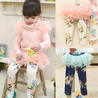 2013 new autumn girls print leggings baby tutu skirts legging flower kids leggings with skirt children fashion legging 5PCS