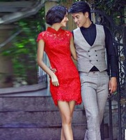 2013 bridal red evening dress evening formal dress lace cheongsam design short formal dress