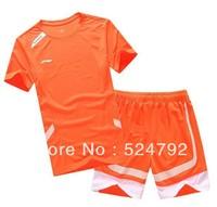 Wholesale free shipping New 2013 Li Ning Men Badminton Polo Shirt+short Colour: orange/white