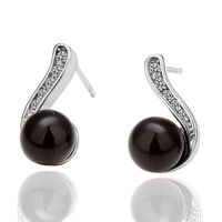 18K Platinum Plated Black Imitation Pearl  Earrings For Women, Fashion Jewelry, Nickel Free, Plating Platinum, Rhinestone