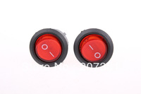 FREE SHIPPING 10 Pcs SPST Red Neon Light On/Off  Round Rocker Switch AC 6A/250V 10A/125V