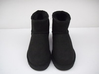 High quality wool leather one piece snow boots low boots 5854 male Women