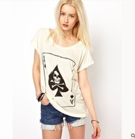 Free ship women's A poker spades skull print t shirt short sleeve 100%cotton t-shirt lady t shirts