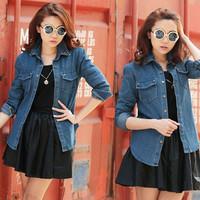 Free Shipping Hottest Sale Womens Denim Shirts Loose Autumn Rivet Decoration Blouses Size XL/2XL/3XL/4XL  YY8-585