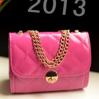 2013 women's handbag women's clutches one shoulder cross-body bag small mini plaid chain bag free shipping