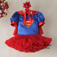 2014 New Year Girls Dresses Kids Blue And Red Superman Dress Baby Pretty Shawl Dresses Infant Christmas Wear TD30811-10^^HK