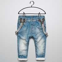 Child denim suspenders trousers baby trousers denim blue jeans