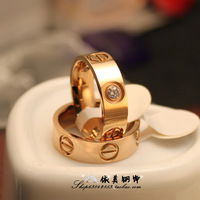 0.4 lovers ring paintless 0.6 didymous color gold finger ring rose gold titanium ring wedding ring