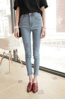 Women fashion all math high waist zipper fly bleached skinny slim long pencil jeans free shipping A613A-1-6266#