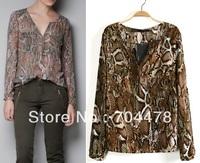 spring  blouses & shirts long sleeve brief chiffon shirt Snake Pattern v neck tops for women blusas free shipping to brazil 0048