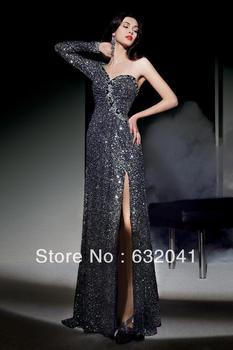 Wholesale - 2013 Dark Grey Glitter Sweetheart Neckline One Shoulder String Of Sexy Female Bridesmaid Party Formal Evening
