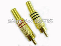 Free Shipping 10pcs Golden Plated AV RCA Male Connector Adaptor to Coaxial Cable