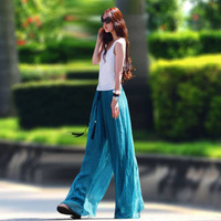 Free shipping 3 color,Top Quality Autum Fashong Women plus Size Wide Leg loose casual elastic long Pants soft Chiffon Culotte