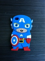 New Arrival 3D Anime Cartoon Marvel Hero Captain America Soft Rubber Mobile Phone Cases Cover For Apple Iphone 4 4G 4S Protector