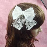 Princess Sweet lolita hair accessory white lace big bow hairpin hair clip cos hair bow Cosplay hair accessories