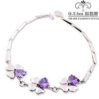 Wholesale 100% Genuine 925 Sterling Silver Platinum Plated Love Heart Amethyst Bracelet Fashion Jewelry SSB002